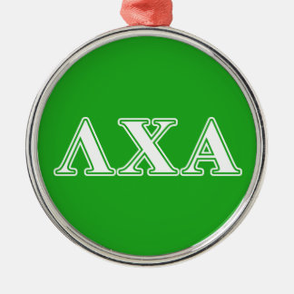 Lambda Chi Alpha White and Green Letters Silver-Colored Round Decoration