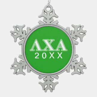 Lambda Chi Alpha White and Green Letters Snowflake Pewter Christmas Ornament
