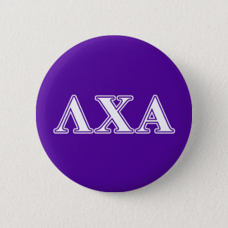 Lambda Chi Alpha White and Purple Letters 6 Cm Round Badge
