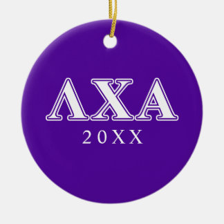 Lambda Chi Alpha White and Purple Letters Christmas Ornament