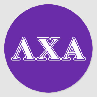 Lambda Chi Alpha White and Purple Letters Classic Round Sticker