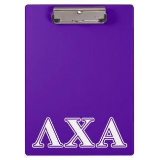 Lambda Chi Alpha White and Purple Letters Clipboard