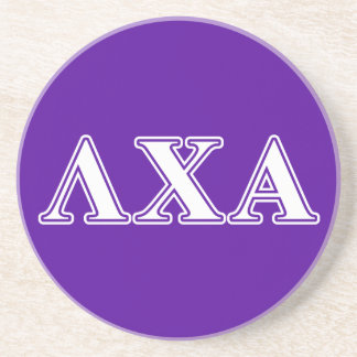 Lambda Chi Alpha White and Purple Letters Coaster