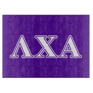 Lambda Chi Alpha White and Purple Letters Cutting Board