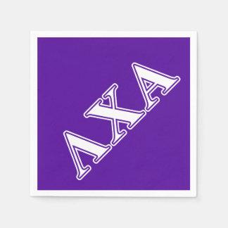 Lambda Chi Alpha White and Purple Letters Disposable Napkins
