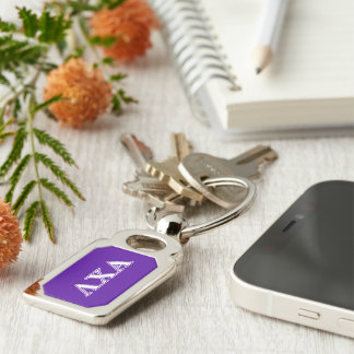 Lambda Chi Alpha White and Purple Letters Key Ring