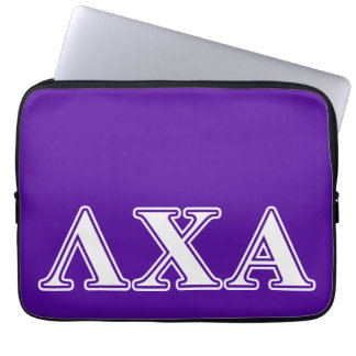 Lambda Chi Alpha White and Purple Letters Laptop Sleeve