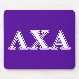 Lambda Chi Alpha White and Purple Letters Mouse Mat