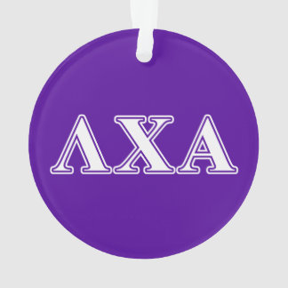 Lambda Chi Alpha White and Purple Letters Ornament