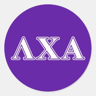 Lambda Chi Alpha White and Purple Letters Round Sticker