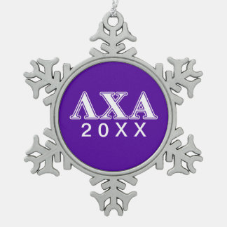 Lambda Chi Alpha White and Purple Letters Snowflake Pewter Christmas Ornament