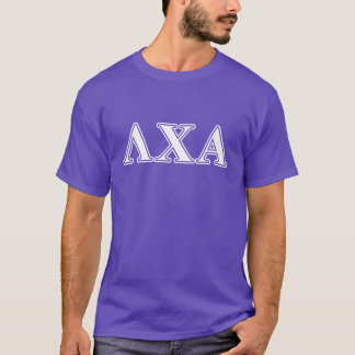 Lambda Chi Alpha White and Purple Letters T-Shirt