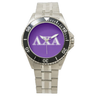 Lambda Chi Alpha White and Purple Letters Watch