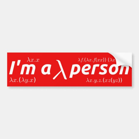 Lambda person bumper sticker