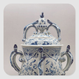 Lambeth Delftware posset pot, blue and white Square Sticker