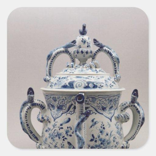 Lambeth Delftware posset pot, blue and white Stickers