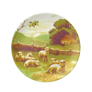 Lambs In Serene Country Meadow Plate