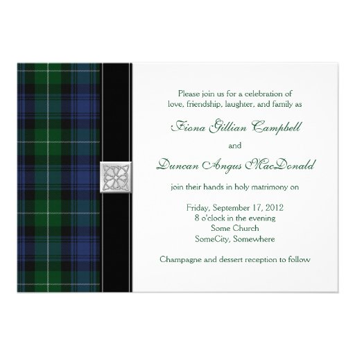 Lamont Tartan Celtic Wedding Invitation