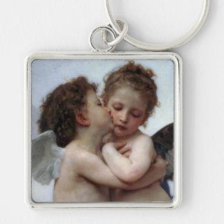 L'Amour et Psyché, Enfants – William Bouguereau Silver-Colored Square Key Ring
