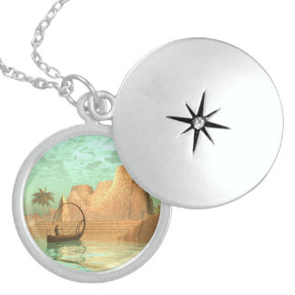Lamp boat with fairy round locket necklace