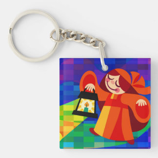 Lamp Girl Double-Sided Square Acrylic Key Ring