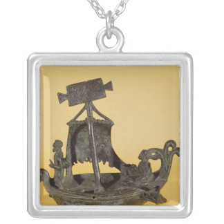 Lamp in the form of a boat silver plated necklace