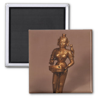 Lamp in the form of Goddess of Fortune Square Magnet
