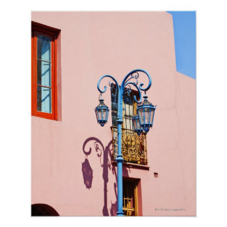 Lamp post and painted buildings, Caminito, La Poster