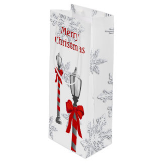Lamp Post Snowflakes Christmas Wine GB Wine Gift Bag
