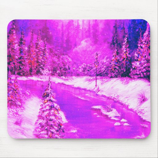 LampLight Winter Holiday Design Pink Mousepad