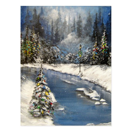 Lamplight Winter Snow Design Postcard