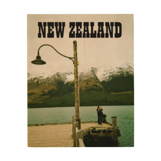 Lamppost by Lake - New Zealand Wood Print