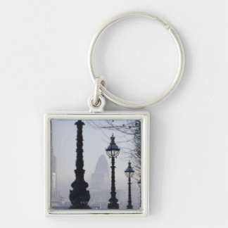Lampposts by River Thames Silver-Colored Square Key Ring
