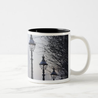 Lampposts by River Thames Two-Tone Coffee Mug