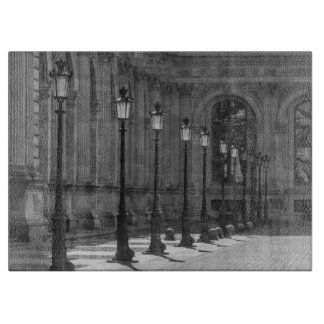 Lampposts in black and white glass cutting board