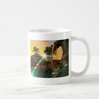Lamps boat at the jetty in the sunset classic white coffee mug