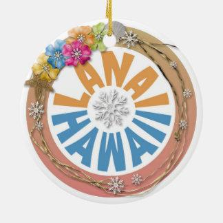 Lanai Hawaii hibiscus holiday ornament