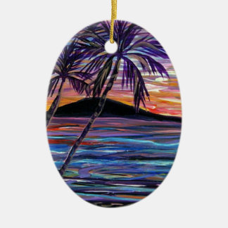 Lanai Sunset Ceramic Oval Decoration