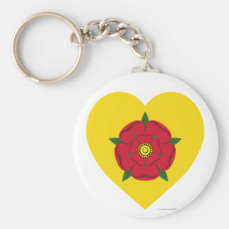 Lancashire Flag Heart Basic Round Button Key Ring