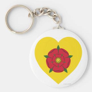Lancashire Flag Heart Basic Round Button Key Ring