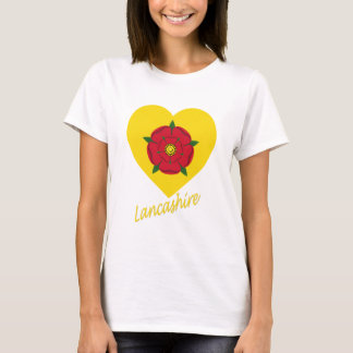Lancashire Flag Heart with Name T-Shirt