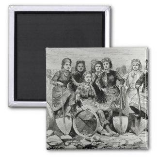 Lancashire Pit-Brow Women Square Magnet