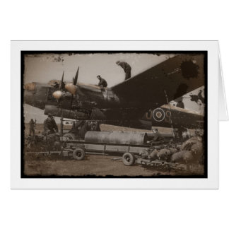 Lancaster Being Loaded with Bombs Card