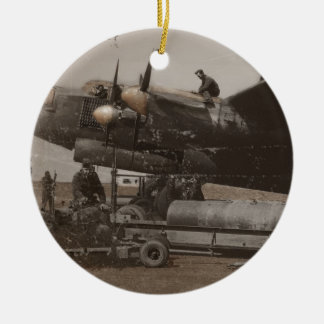 Lancaster Being Loaded with Bombs Round Ceramic Decoration