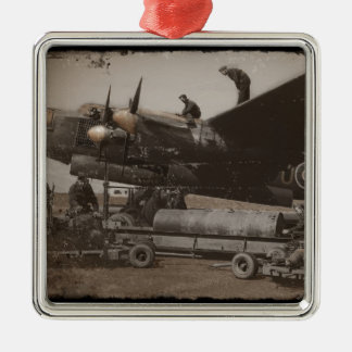 Lancaster Being Loaded with Bombs Silver-Colored Square Decoration