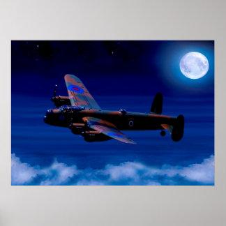 """Lancaster Bomber Night Flight 28"""" x 20"""" Poster"""