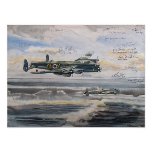 Lancaster bomber over bombed u-boat pens poster