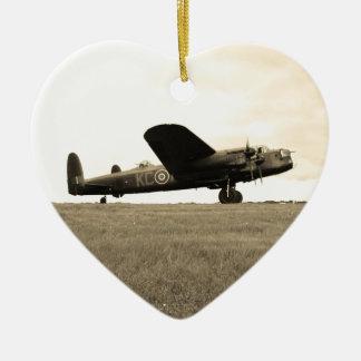 Lancaster Bomber Sepia Tone Ceramic Heart Decoration