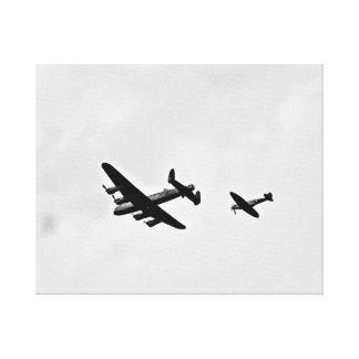 lancaster Bomber,Spitfire. Canvas Print