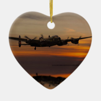 lancaster Bomber the home stretch Ceramic Heart Decoration